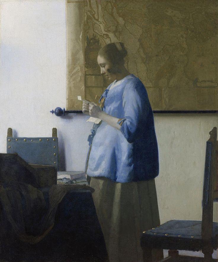 Arte & Ofício: Mulher de azul lendo uma carta