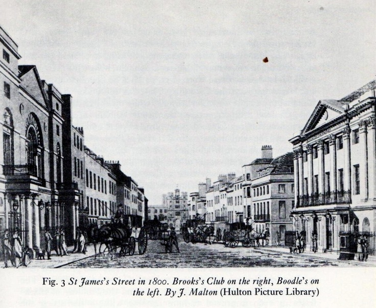 St. James' Street in 1800 with Brook's Club on the right and Boodle's on the left.