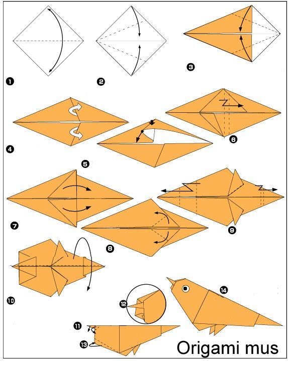 origami mus vouwen