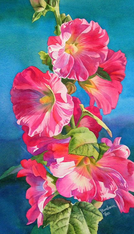 Barbara Fox - hollyhocks at sunsetPink Flower, Flower Painting, Feathers Boa, Barbara Foxes, Art Studios, Foxes Watercolors, Foxes Art, Art Painting, Hollyhocks Watercolors