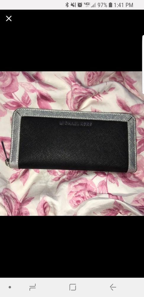 Mk Michael Kors Black Silver Frame Out Wallet  fashion  clothing  shoes   accessories  womensaccessories  wallets (ebay link) bc611e078b