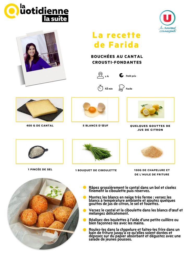 Retrouvez la recette de Farida : Bouchées au cantal crousti-fondantes