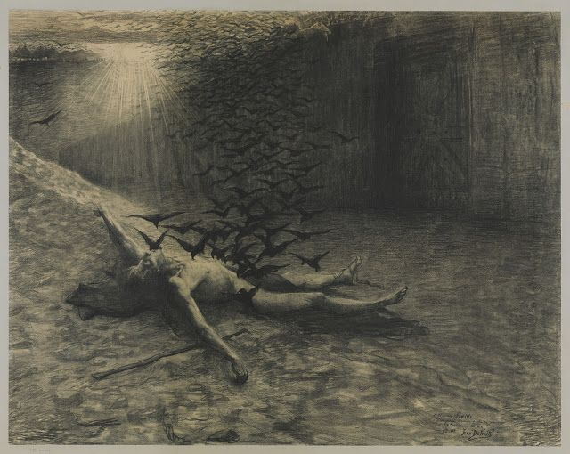Jean Delville (1867-1953), Probablement une représentation de la Mort d'Orphée ou une première figuration de Prométhée - 1888