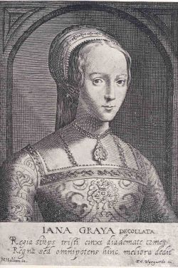 Earliest known engraving of Jane Grey and was done by Wyngarde. It is said to have been done from a picture by Holbein, which has since been lost.