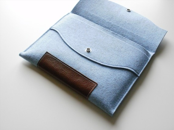 "Macbook air 13"" baroque case steel blue merino wool felt.  Etsy.  Willow and Company $67"