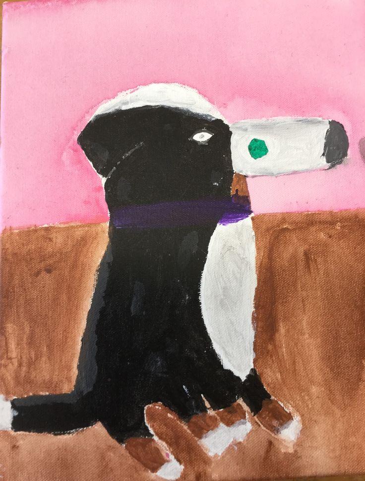 Dit is voor de opdracht dieren schilderij. Ik vind mijn hond mooi alleen de neus en de beker hadden beter gemogen.
