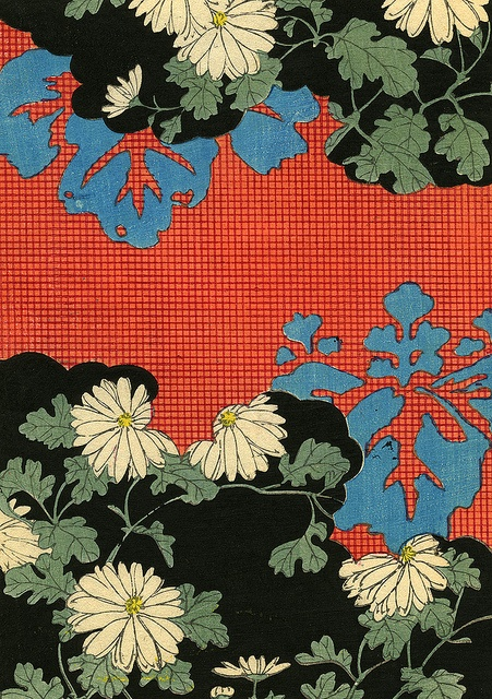 I'd love this blown-up and stenciled on a wall. It's Kimono Fabric