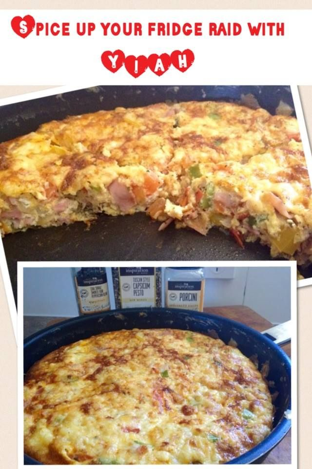 Spice up your fridge raid with YIAH ...  Tuscan Style Capsicum Pesto omelette this Sunday morning   Capsium, Onion, Shallots, Tomatoes and ham or bacon gently fried in a pan with Intense Garlic OO until soft , whisk the eggs and pour over the top , evenly spreading the mix .. Season with salt and pepper and cook lid on until just the top wobbles.. Sprinkle lightly with cheese and pop under the grill until golden brown and crunchy..