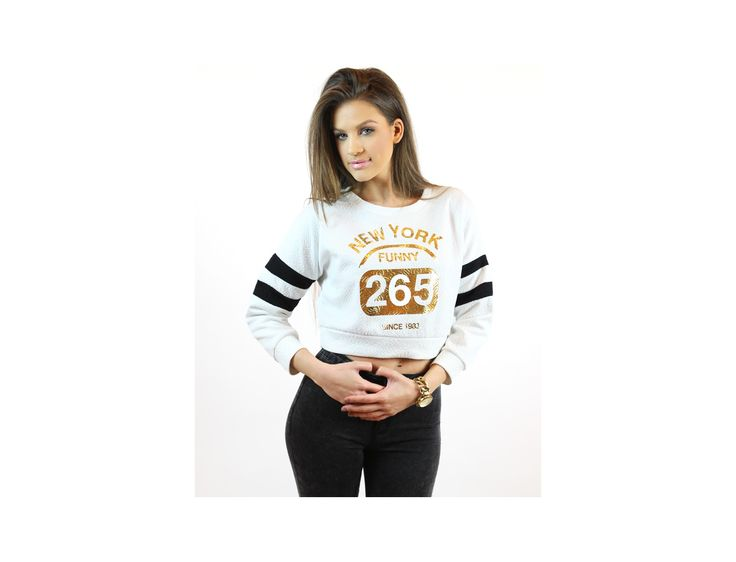 New York Funny 265 Cropped Jumper at www.famevogue.ro  #jumpers #pulover #style #fashion #haine #trends
