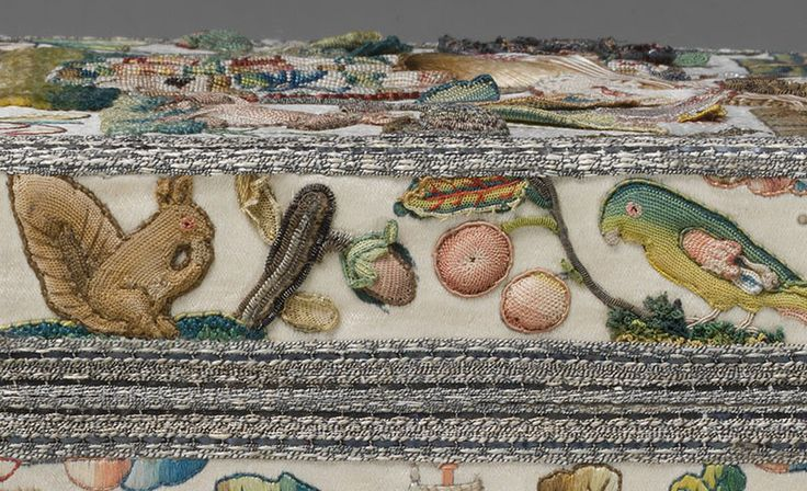 #13  Embroidered Cabinet from the 17th century.  DETAIL: Lid edging on right side.
