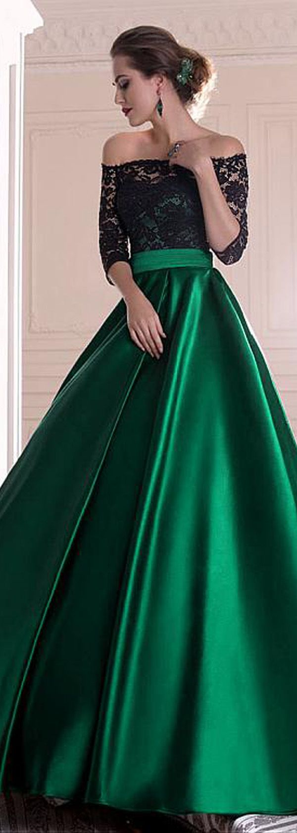 Graceful Lace & Satin Off-the-shoulder Neckline A-line Evening Dresses With Pleats