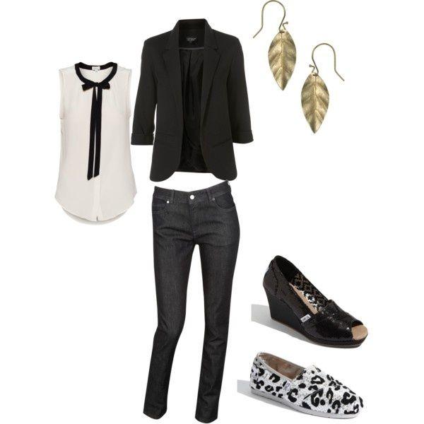 black & white button up, black blazer, black pants and pumps or flats