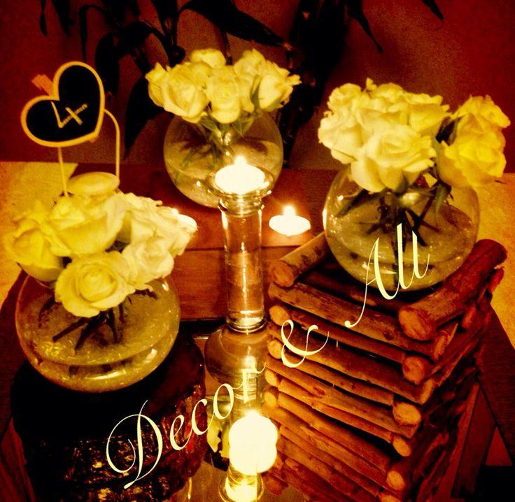 Vintage- tea lights, wood, White Roses & Gyps