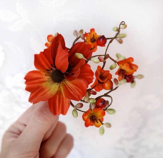 fall wedding, hair clip, autumn wedding, fall flower, hair accessory
