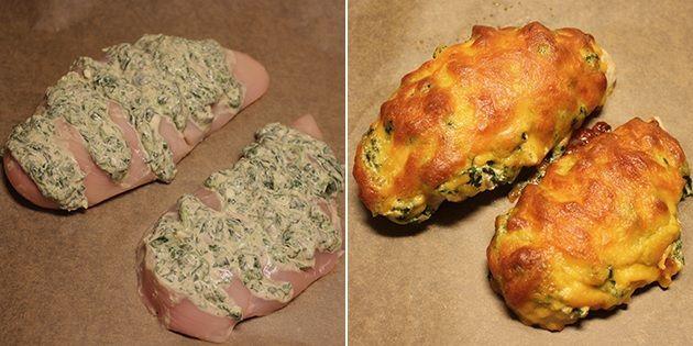Kyllingen er fyldt med spinat og ost samt toppet med revet ost, der smelter og bliver gylden i ovnen.