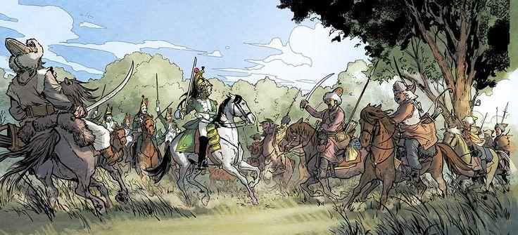 "dragons de la garde vers cosaques. Russie. 1812. Bande Dessinée ""Berezina"" Editions DUPUIS. Ivan Gil. Frederic Richaud."