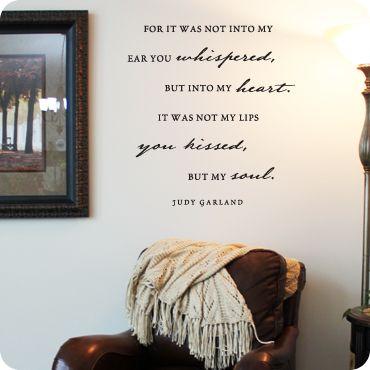 My Heart My Soul (wall decal from WallWritten.com).: Judy Garland, Wall Decal