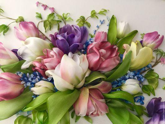 Картины цветов ручной работы. Заказать Тюльпаны и гиацинт. Kseniya Byelikh. Ярмарка Мастеров. Гиацинт, подарок девушке, шёлковая лента