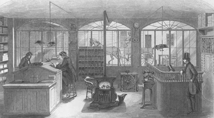 Lithograph of the Wells Fargo office in San Francisco, 1867