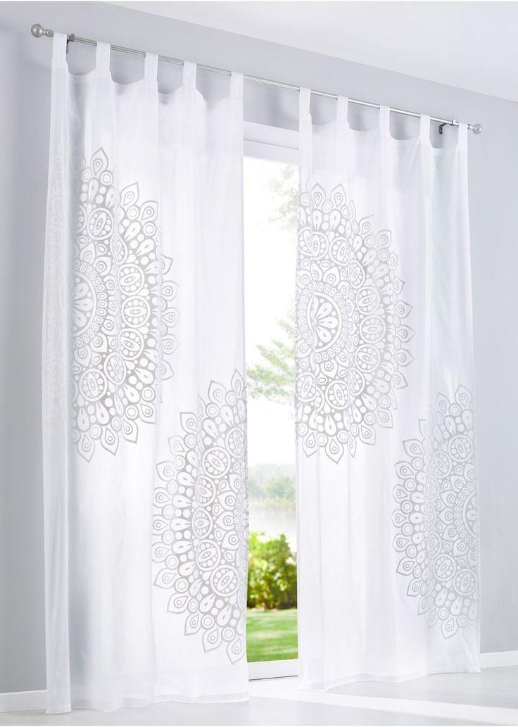 Bekijk nu:Een highlight voor je interieur! Transparant gordijn in een bijzonder design met een verplaatst ornament! Heel opvallend! Wasbare voile van hoogwaardig, licht katoen.