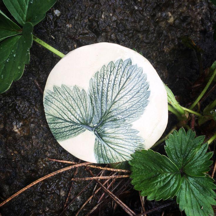 Fridge Magnet. Ceramic Magnet. Strawberry Magnet. Stoneware Magnet. Gift for Cook. Strawberry Leaf. Gardener's Gift. Earthenware Clay. Leaf. by FaeGartenClay on Etsy