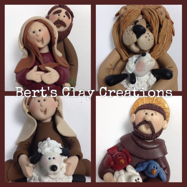 BertsClayCreations.com Bethlehem Christmas Ornaments, St. Francis, Mary & Joseph, LIttle Shepherd and Lion and the Lamb