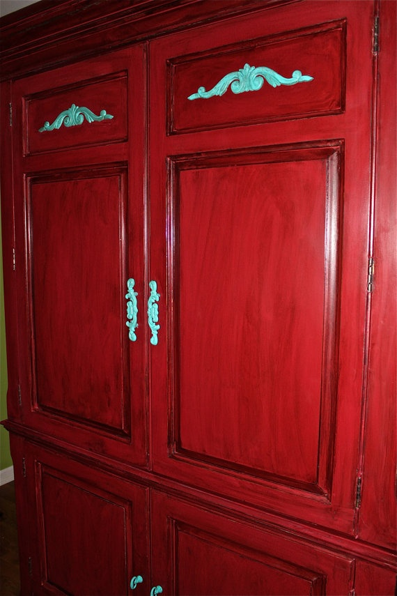 Red Armoire /TV Cabinet /Teal Accent Painted by ...