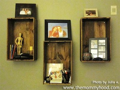 Wine crate shadowbox shelving