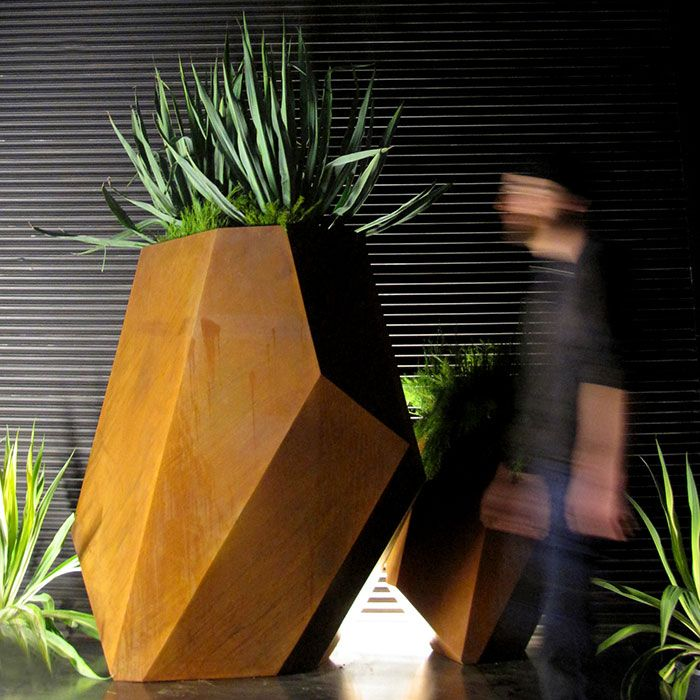 Designer Planters, Sculptural Planter Boxes, Corten Steel Planters