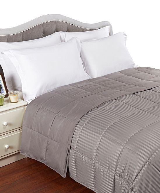 Gray Down Alternative Reversible Microfiber Blanket