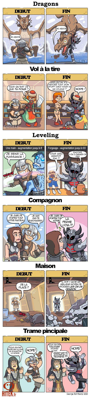 Skyrim : une comparaison très surprenante entre le début et la fin du jeu (BD)