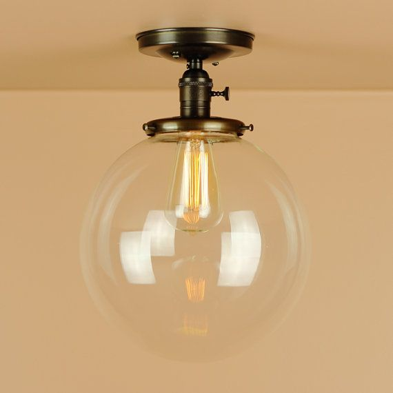 Semi+Flush+Light++w/+X+Large+10+inch+Clear+Glass+by+BlueMoonLights,+$176.00