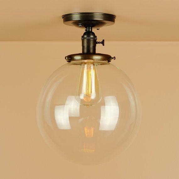 Semiflush Lighting - X Large 10 inch Clear Glass Globe - Oil Rubbed Bronze Finish - Edison Light Bulb - Lighting for Low Ceilings