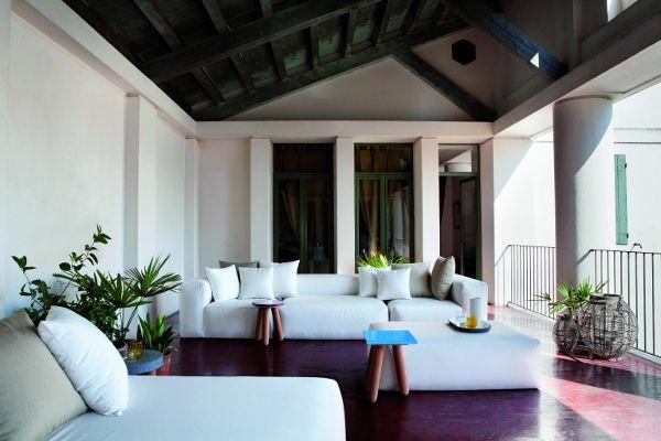 MONTECARLO #sofa + PARAGGI #tables designed for Exteta | #Palomba #design