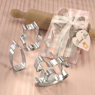 Baby Themed Cookie Cutters, could use to bake cookies & give the cookies away as a thank you favor to guests.