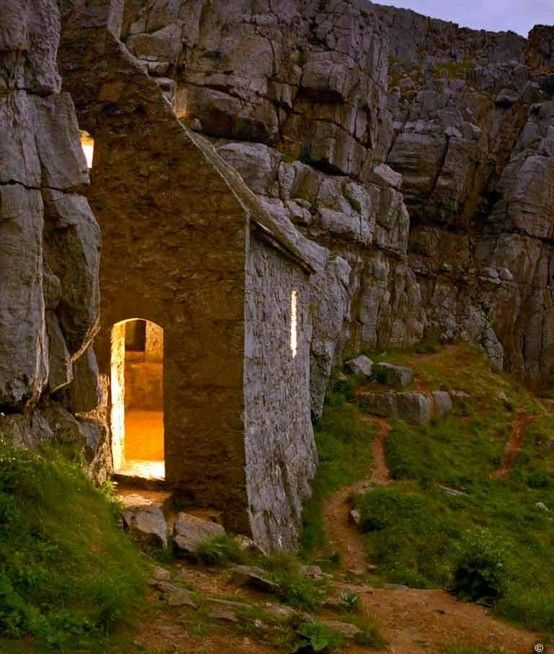 St Govan's Chapel, Pemrokeshire, Wales. Curious hermitage on the coast.