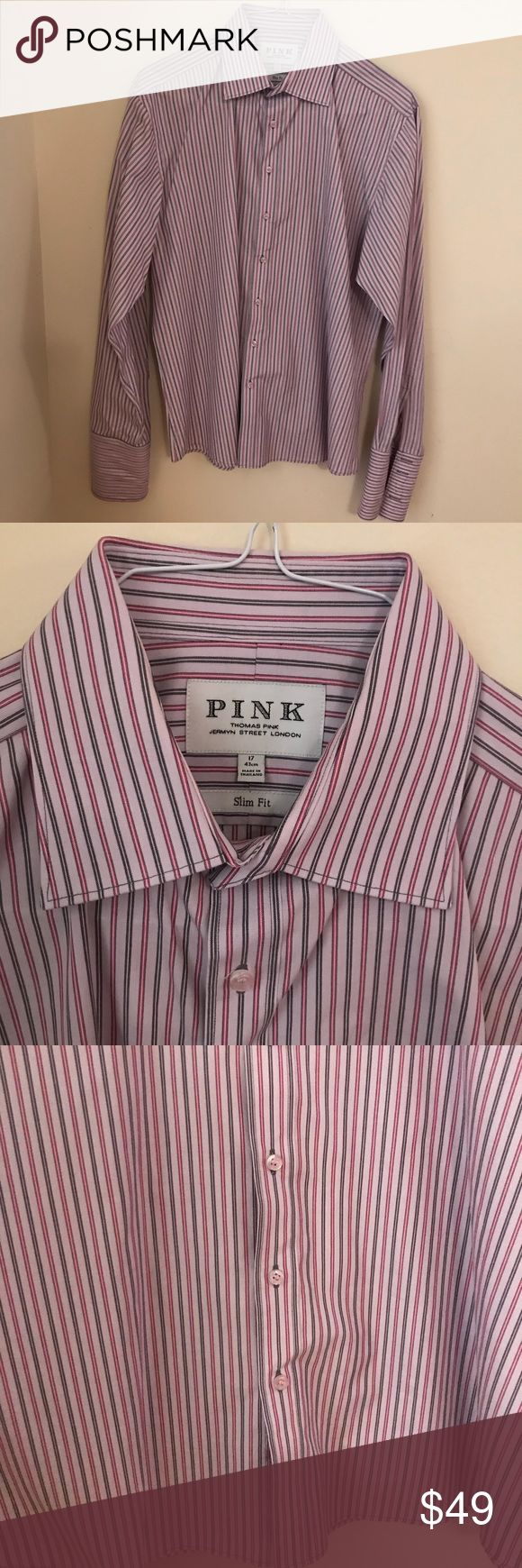 Pink Men's Shirt Barely used in great condition, size 17, slim fit. Multi straps light pink and light purple and gray pink thomas pink Shirts Dress Shirts