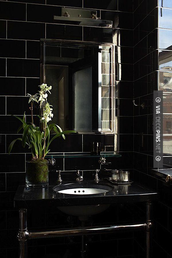 Neat - Chic black Sawyer Berson bath via Quintessence | CHECK OUT MORE BATHROOM DECORATION IDEAS AT DECOPINS.COM | #Bathrooms #bath #bathroomdecoration #bathroomcabinets #bathroomvanities #bathroomvanity #smallbathroomideas #jackandjillbathroom #homedecor #homedecoration #bathrooms #kitchens #kitchendecor #bathroomdecor #interiordesign #design #homedecorpictures #homedecoratingpictures #pictureshomedecoratingideas #interiorpicturesofhomes #interiordesignpictures #homedecor