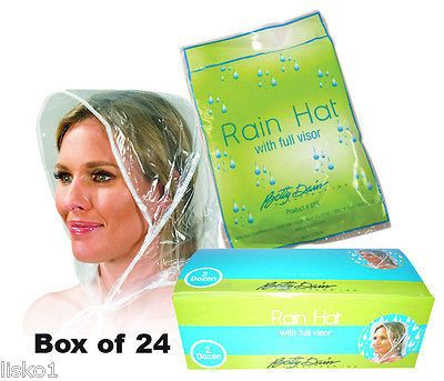 24 - Betty Dain #655 Rain Hat's with full pull out visor, Clear vinyl LMS