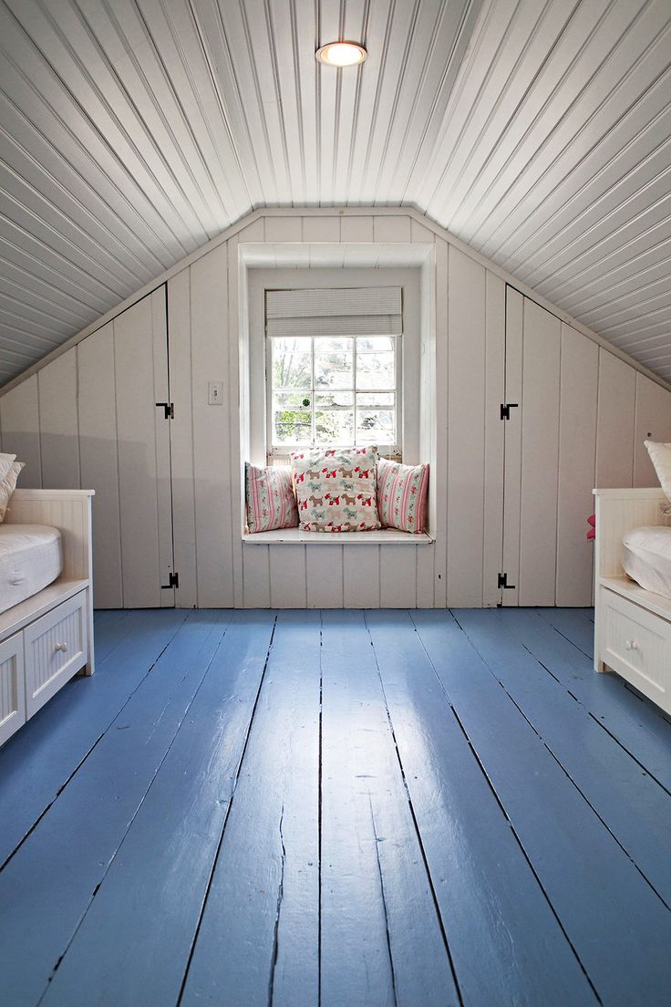 Painted plank attic--simple and clean.