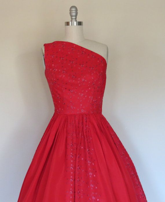 50s party dress size xs  small / vintage prom by SwanSongVintage1, $115.00
