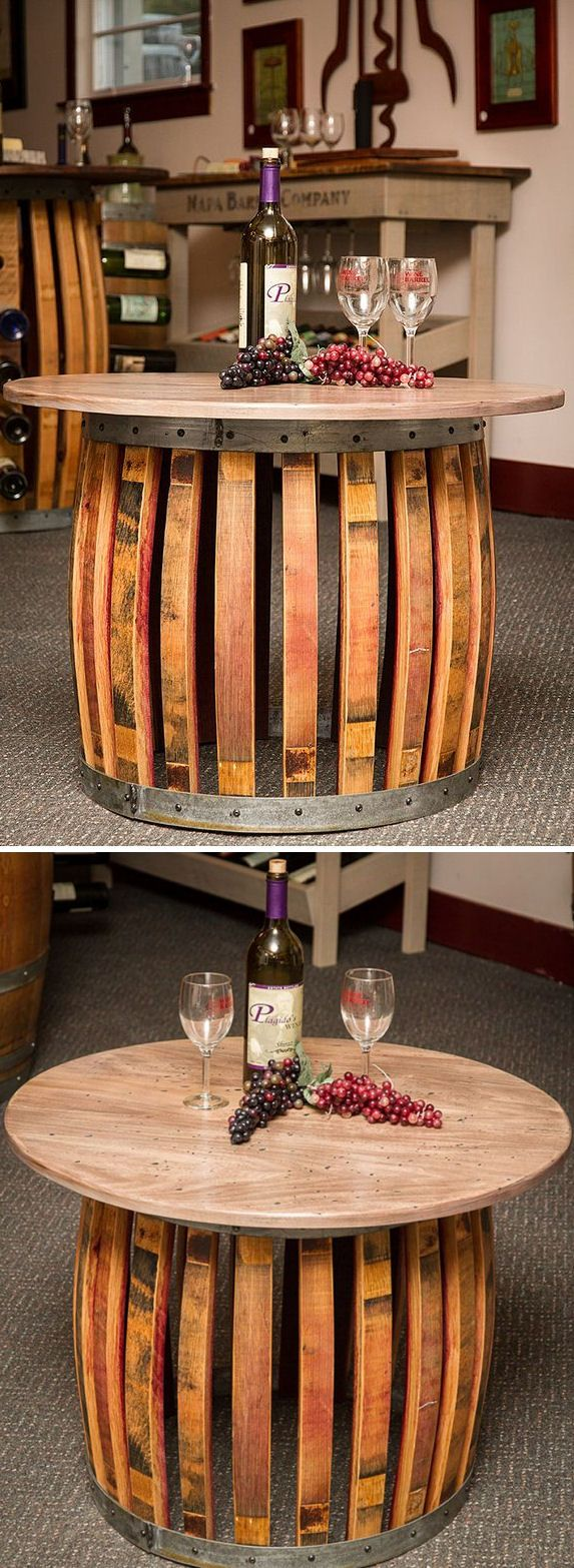 Cool wine barrels table awesome for out