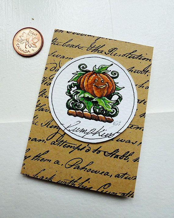 Pumpkin Original Art Illustration Drawlloween Miniature