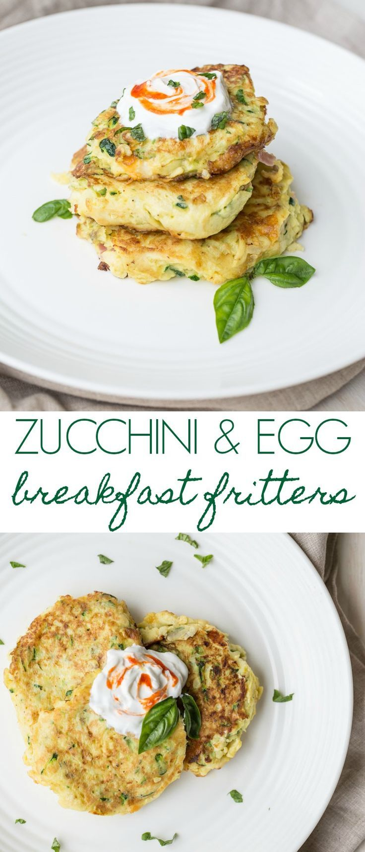 Recipe for zucchini & eggs breakfast fritters stuffed with ham and cheese.