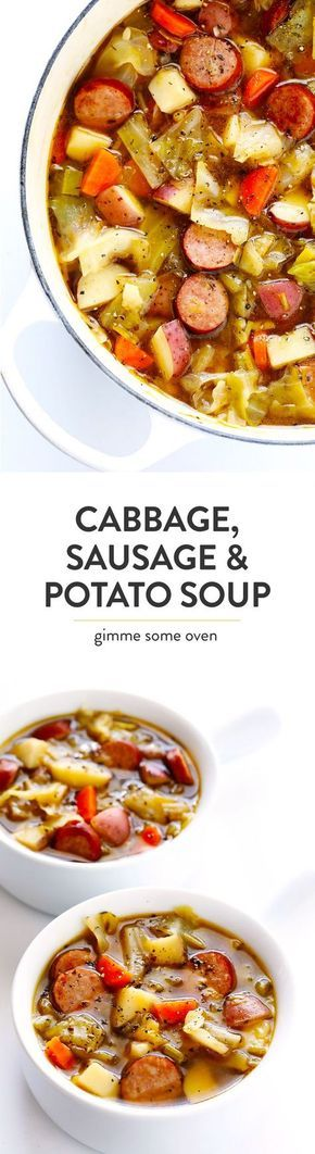 This Cabbage, Sausage and Potato Soup recipe is hearty and comforting, it's filled with lots of tender cabbage, smoked sausage (I used Kielbasa), carrots, potatoes, leeks and herbs, and it's SO delicious!   Gimme Some Oven (Gluten-Free / Dairy-Free)
