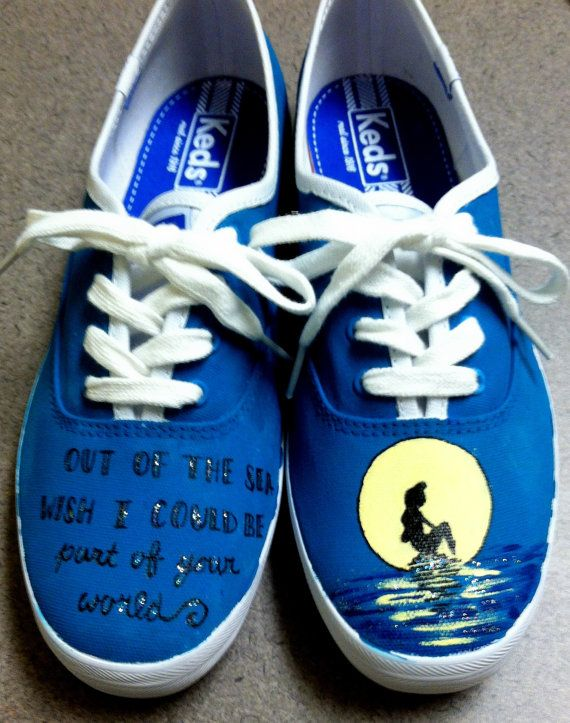 Little Mermaid Inspired Shoes by HandPainted29 on Etsy