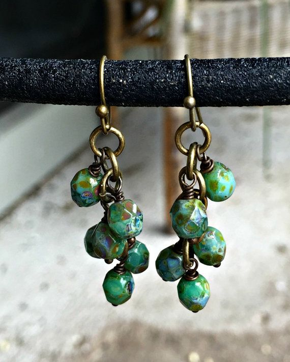 Green Czech Glass Cluster Earrings, Beaded Dangle Earrings, Czech Glass Jewelry…