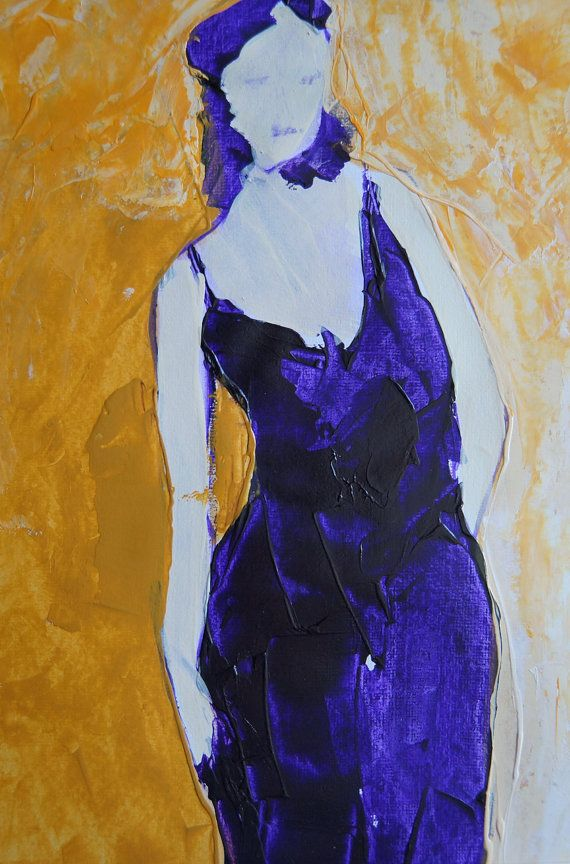 Girl in a violet dress with a deep neckline on a by ankaGilding