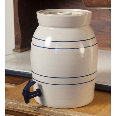 Heritage Blue Stripe Stoneware Water Cooler and Vinegar Crock