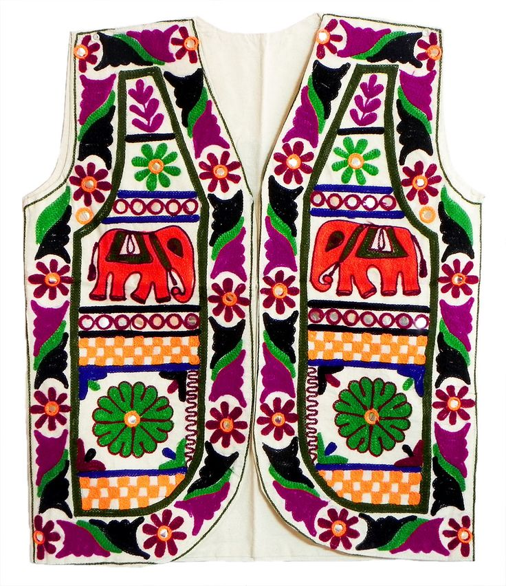 Multicolor Gujrati Embroidery on Sleeveless Jacket (For Men) (Cotton Cloth)